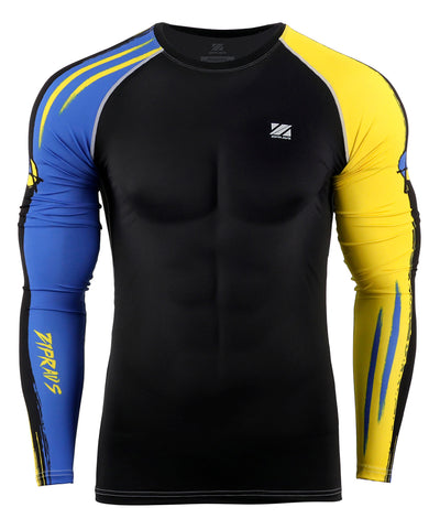 blue surf compression tight fit long sleeve rashguard