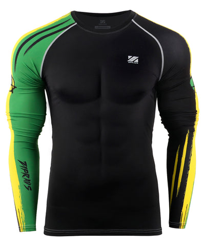 green&yellow compression tight long sleeve