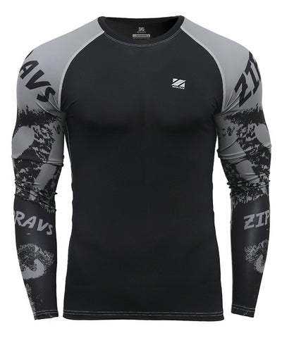 gray compression activewear long sleeve rash guard