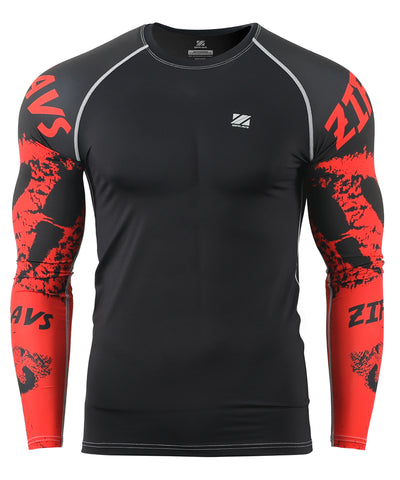 red tight compression longsleeved rashguard