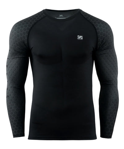black Hexagon pattern design rash guard