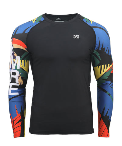 colorful men's long sleeve swim shirt rash guard