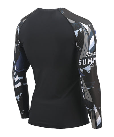 gray&white compression tight long sleeve rash guard