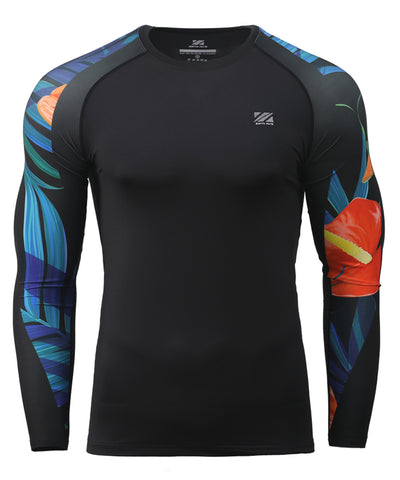 leaf pattern&flower design compression summer rashguard