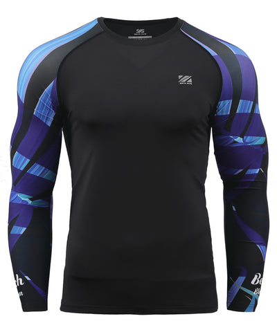purple leaf pattern design summer compression athletic long sleeve