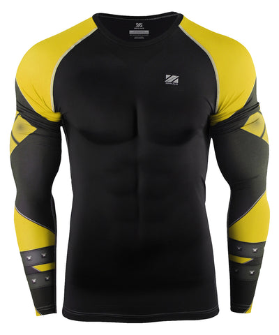 yellow compression long sleeve rashguard