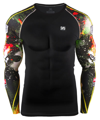 yellow & red compression rashguard