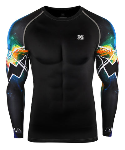 blue space design compression long sleeve gear