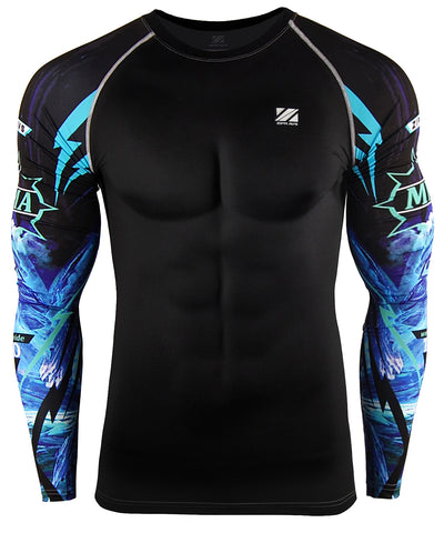 blue surf compression swimwear rashguard