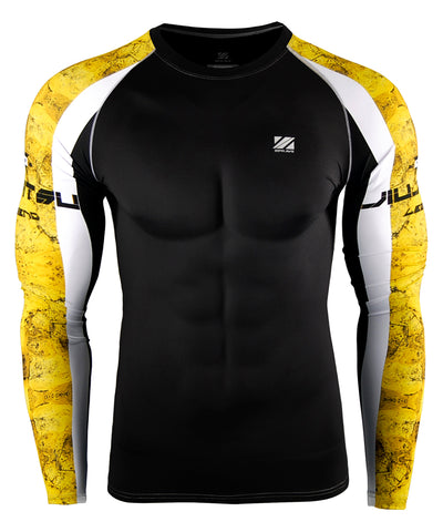 yellow compression tight rashguard