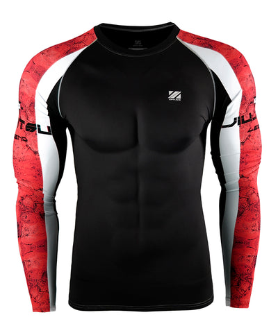 red&white line design compression long sleeve