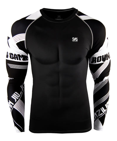 white stripe pattern compression gear