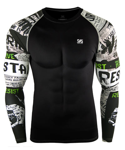 white compression workout gymwear rashguard