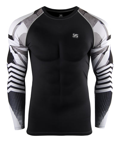 white stripe compression rashguard