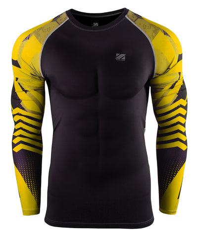 yellow line design tight fit compression rashguard