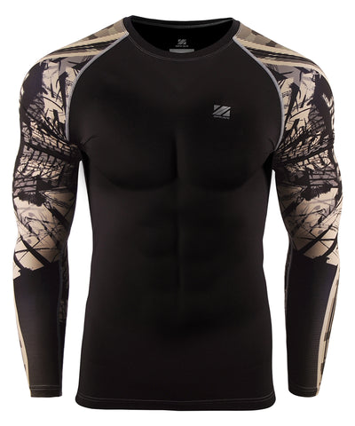brown camo pattern long sleeve rashguard