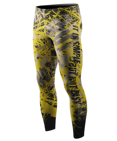 yellow bjj mma gym leggings cool dry tights