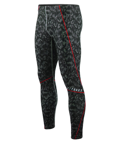 camo pattern&red line compression tights