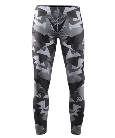gray pattern compression tight pants