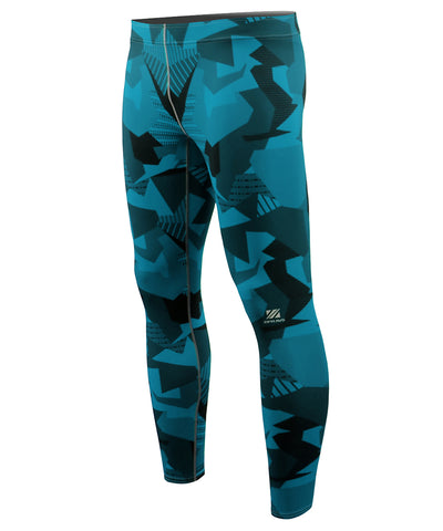 blue camo pattern mens compression leggings