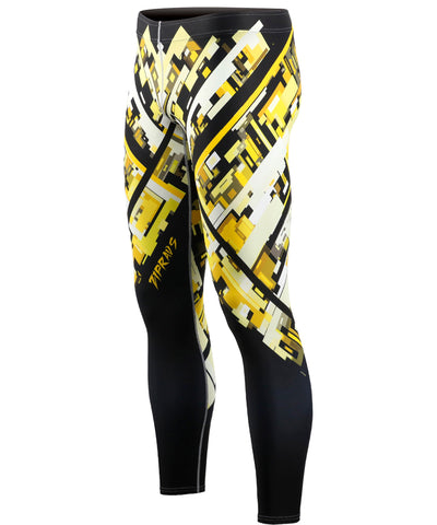 mens yellow compression leggings