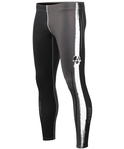gray & white line compression tights