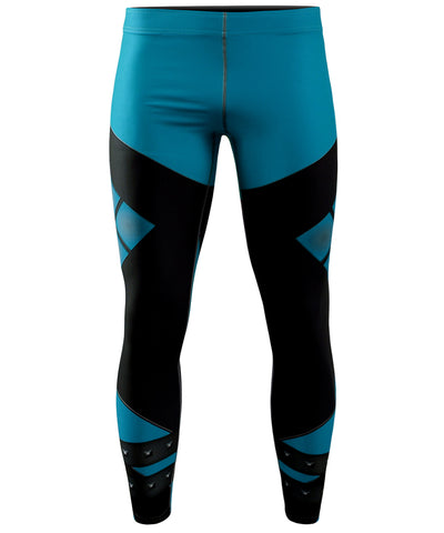 blue athletic compression pants