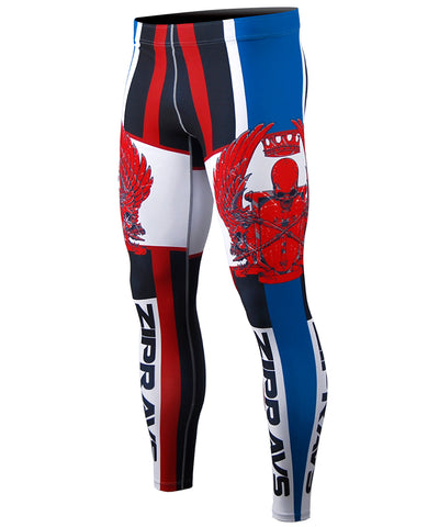 blue & red line design tights