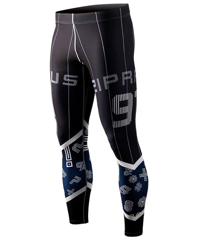 black&blue compression tight leggings