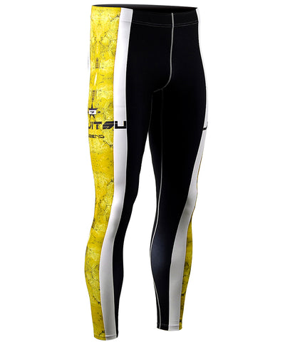 yellow&white line compression pants