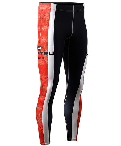 red&white line compression tights