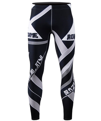 white stripe design compression leggings