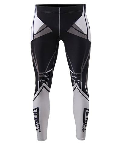 white line design mens compression leggings