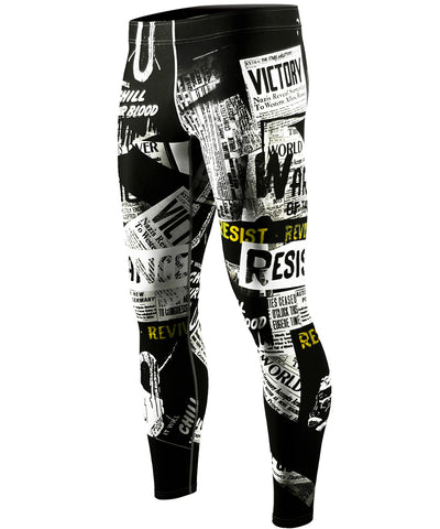 white newspaper compression leggings