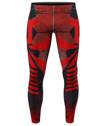 mens red stripe compression leggings