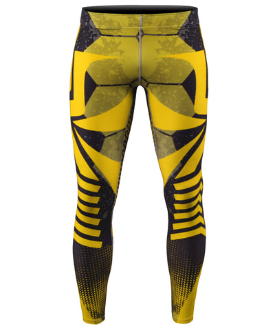 yellow stripe mens compression leggings