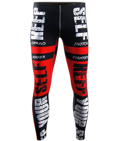 red compression active workout tights