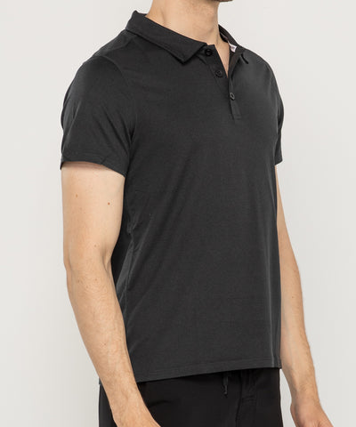 black zipravs essentials men's tech stretch polo shirt