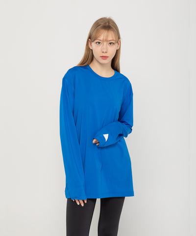 blue loose fit long sleeve summer rash guard