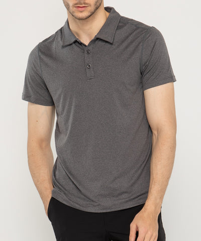 charcoal polo essential tech mens short sleeve