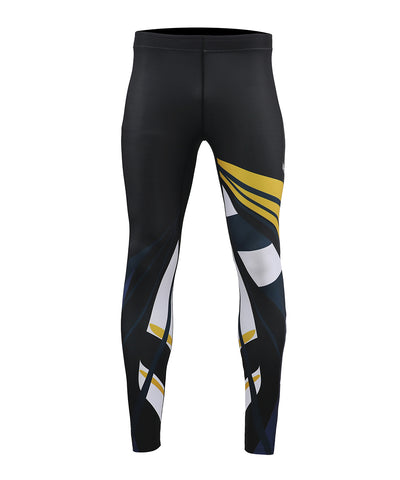 yellow&white uv sun protection long compression tights