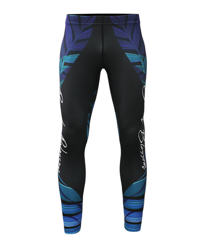 leaf pattern design compression tight leggings pants