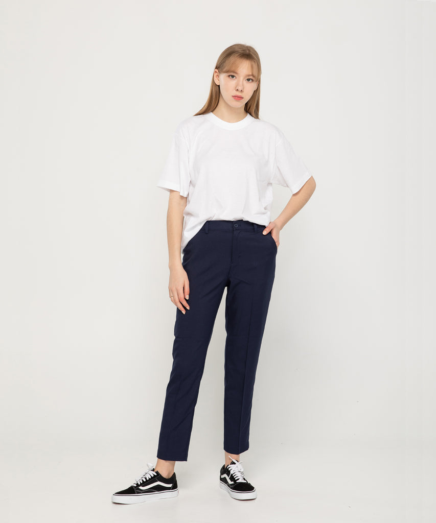 navy straight fit women slacks