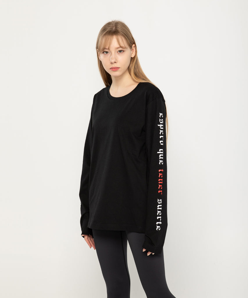 black long sleeve lettering design