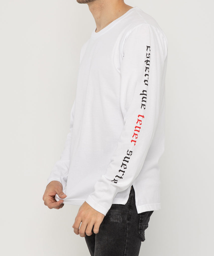 white long sleeve lettering design