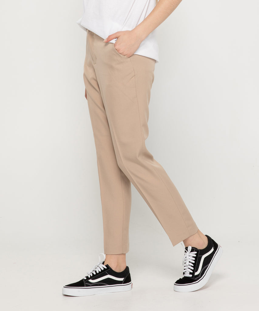 beige straight fit women slacks