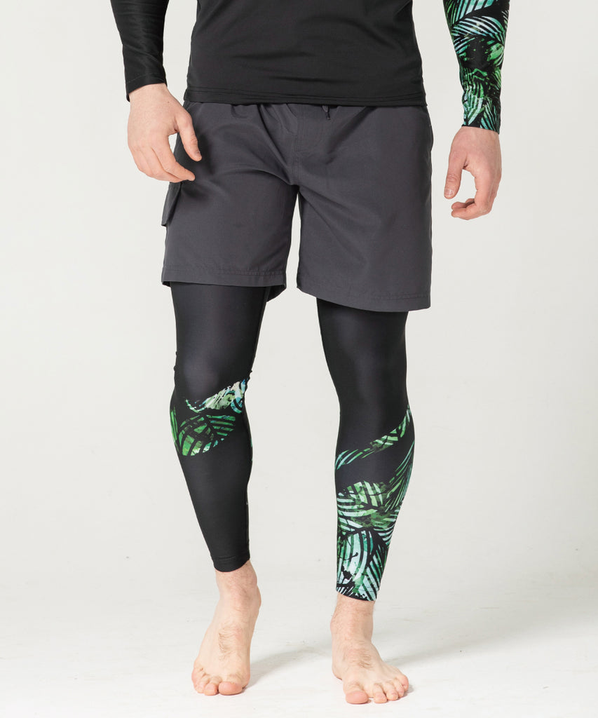 Green Leaf Pattern Athletic Compression Leggings