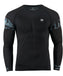 Sky blue leaf pattern athletic compression shirt quick dry