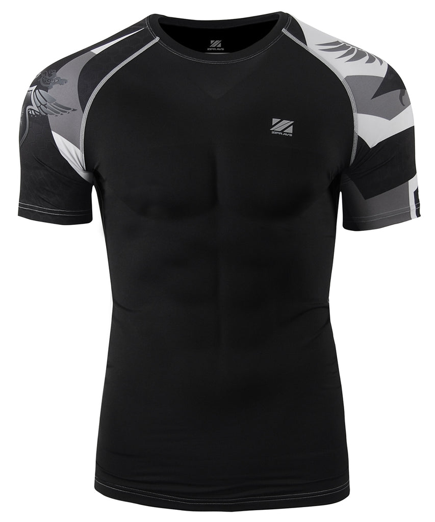 BLACK & WHITE BJJ COMPRESSION TEE SHORT SLEEVE