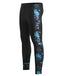 Blue leaf pattern&lettering compression gear pants